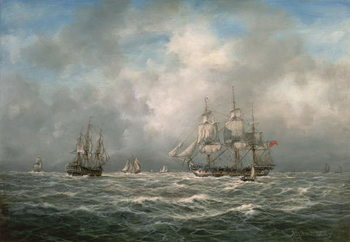 Frigate hove-to, Awaiting a Pilot Canvas Print