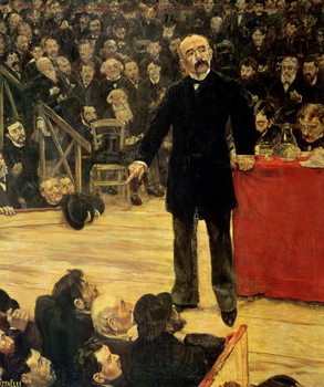 Georges Clemenceau (1841-1929) Making a Speech at the Cirque Fernando, 1883 Canvas Print