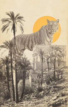 Canvas Print Giant Tiger in Ruins and Palms