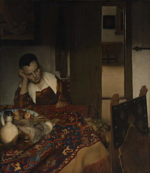 Girl asleep at a table, 1656-57 Canvas Print