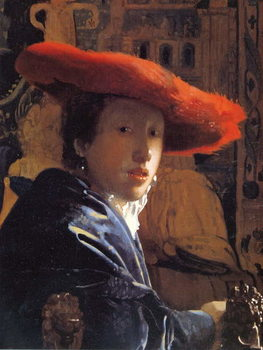 Girl with a Red Hat, c.1665 Canvas Print