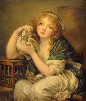 Canvas Print Girl with the Doves (after Greuze)