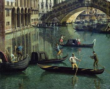 Gondoliers near the Rialto Bridge, Venice (oil on canvas) Canvas Print