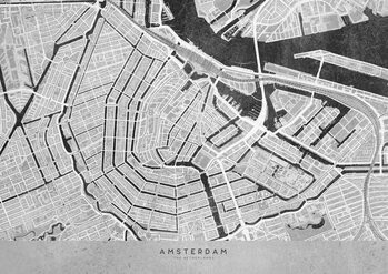 Canvas Print Gray vintage map of Amsterdam