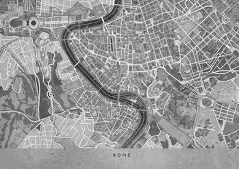 Canvas Print Gray vintage map of Rome
