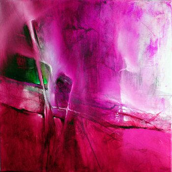 Canvas Print green emerald in pink