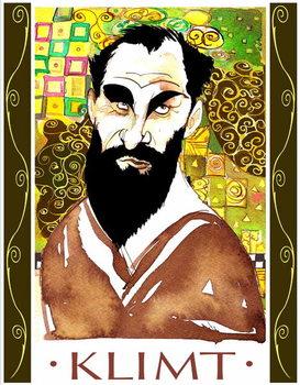 Gustav Klimt - colour caricature Canvas Print
