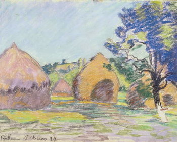 Haystacks at Saint-Cheron Canvas Print