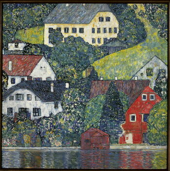 Canvas Print Houses at Unterach on the Attersee