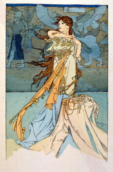 Illustration by Alphonse Mucha from Rama a poem in three acts by Paul Verola. ca.1898. Mucha . was a Czech Art Nouveau painter Canvas Print