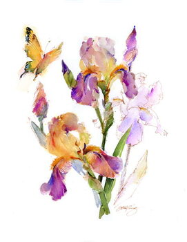 Canvas Print Iris with yellow butterfly, 2016,
