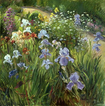 Irises and Oxeye Daisies, 1997 Canvas Print