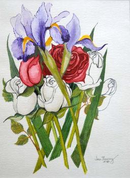 Irises and Roses,2007 Canvas Print