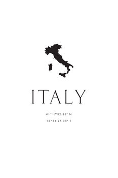 Italy map and coordinates Canvas Print
