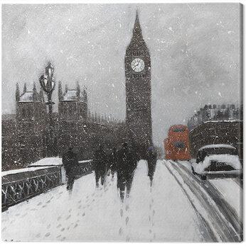 Jon Barker - Snow Men, Westminster Bridgeq Canvas Print