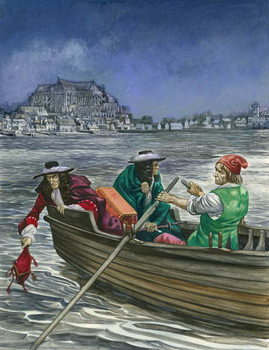 King James throws the Great Seal into the Thames Canvas Print