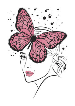 Canvas Print Lady Butterfly1