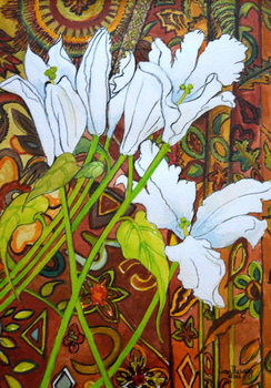 Lilies against a Patterned Fabric, Canvas Print
