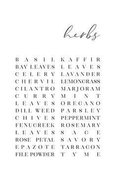 Canvas Print List of herbs typography art