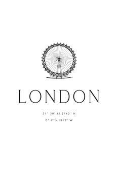 Canvas Print London coordinates with London Eye