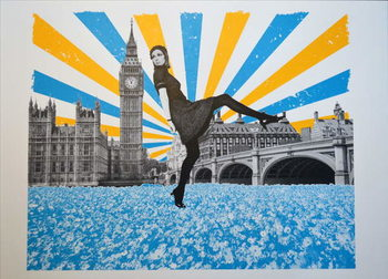 London Stride, 2018, Screenprinting Canvas Print
