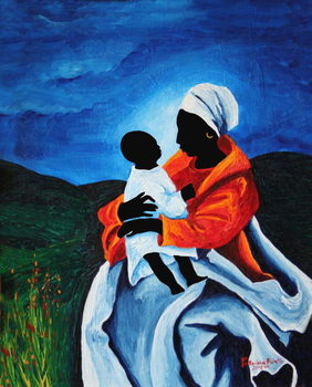 Madonna and child - First words, 2008 Canvas Print