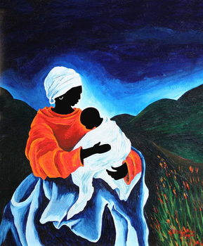 Madonna and child - Lullaby, 2008 Canvas Print