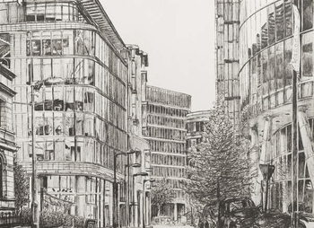 Manchester, Deansgate, view from cafe,2010, Canvas Print