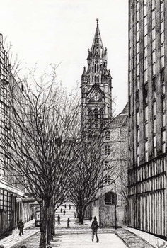 Manchester Town Hall from Deansgate, 2007, Canvas Print