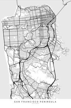 Canvas Print Map of San Francisco Peninsula in scandinavian style