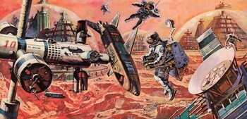 Mars, colonised by man, as envisaged in the 1980s Canvas Print