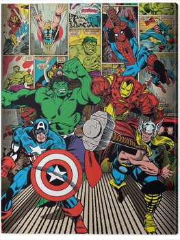 Canvas Print Marvel Comics - Here Come the Heroes