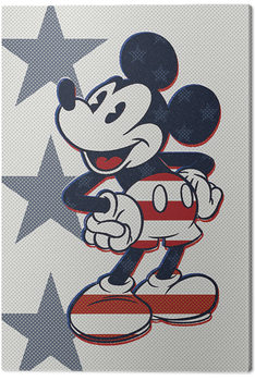 Canvas Print Mickey Mouse - Retro Stars n' Stripes