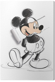 Canvas Print Mickey Mouse - Torn Sketch