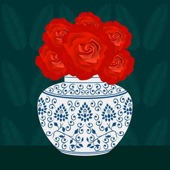 Ming vase with Roses Canvas Print