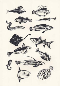 Monotone Plain Fish, 2015 Canvas Print