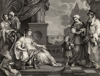 Moses before Pharaoh's Daughter, from 'The Works of William Hogarth', published 1833 Canvas Print