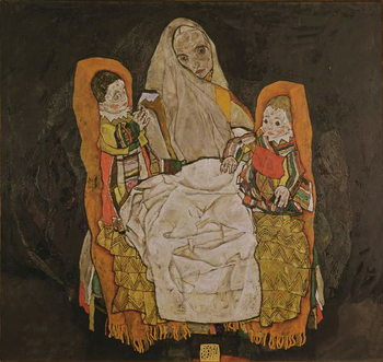 Mother with Two Children, 1915-17 Canvas Print