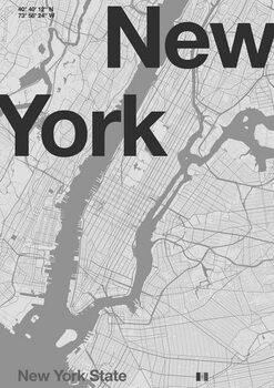 New York Minimal Map Canvas Print