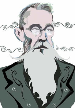 Nikolai Rimsky-Korsakov Russian composer , colour 'graphic' version of file image, 2006/2010 by Neale Osborne Canvas Print
