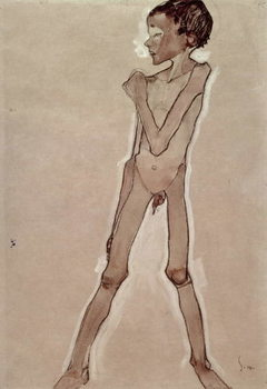 Nude Boy Standing Canvas Print