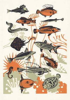 Orange Seaweed Fish, 2015 Canvas Print