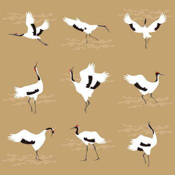 Canvas Print Oriental Cranes