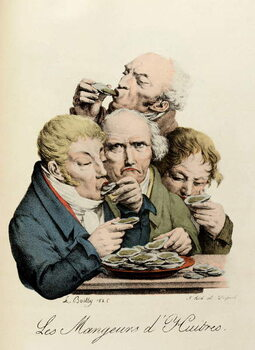 Canvas Print Oyster Eaters Engraving by Louis-Leopold Boilly