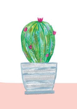 Painted cactus in blue stripe plant pot Canvas Print