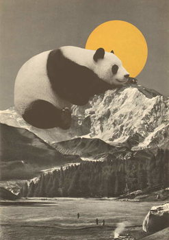 Canvas Print Panda's Nap into Mountains