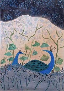 Paons Or et Argent, 1985 Canvas Print