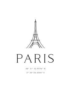 Canvas Print Paris coordinates with Eiffel Tower