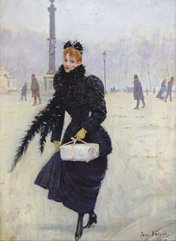 Parisian woman in the Place de la Concorde, c.1890 Canvas Print