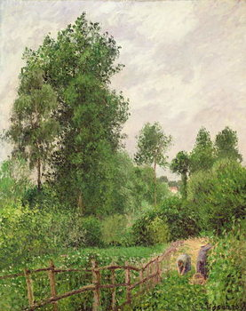 Paysage, temps gris a Eragny, 1899 Canvas Print